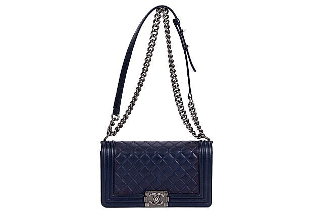 Chanel Medium Caviar Navy Boy Bag