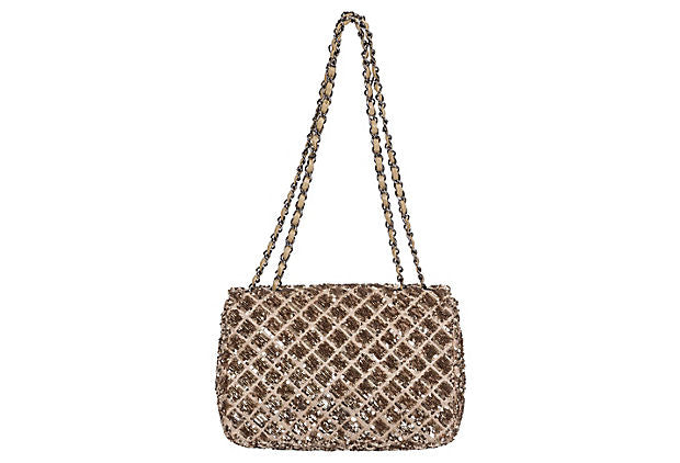 ee121857d1fd Chanel Beige & Gold Sequin Flap Bag - Vintage Lux