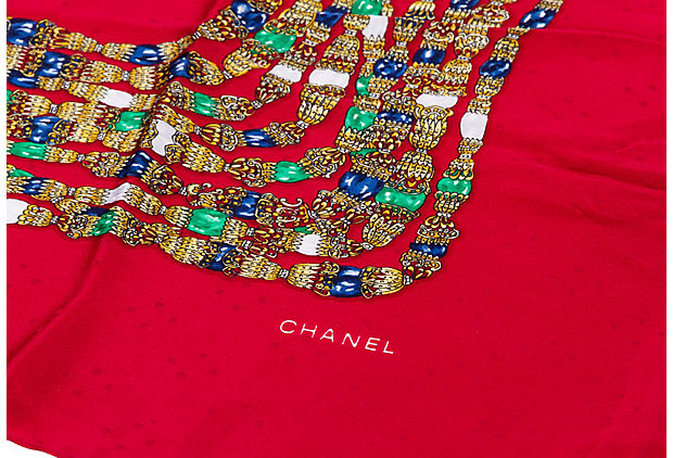 Chanel Red Jewel Silk Print Scarf