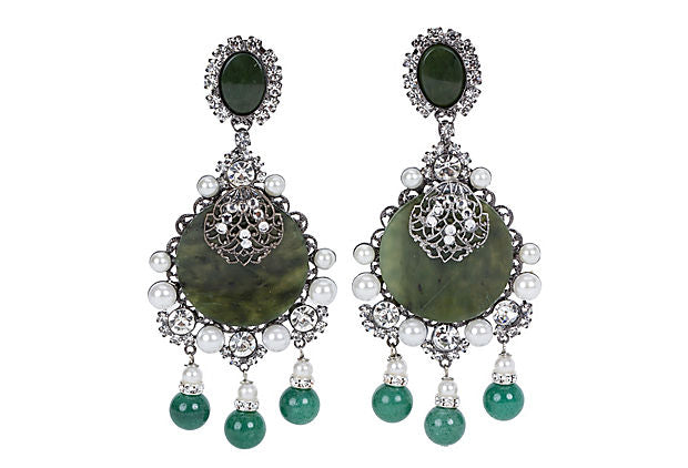 Vrba Oversize Jade Pearl Earrings