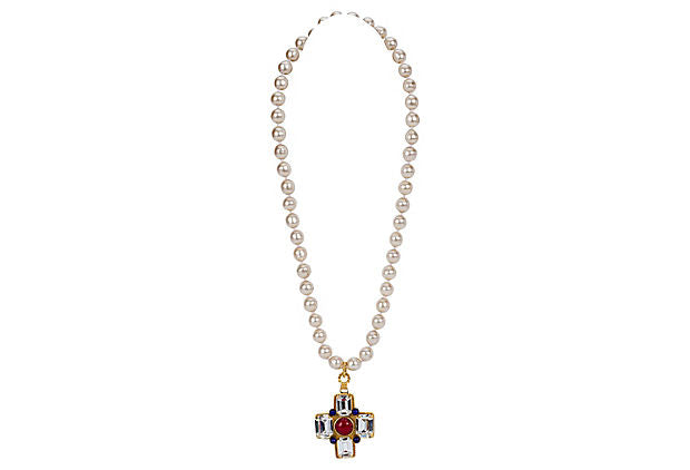 Chanel Maltese Gripoix Cross Necklace