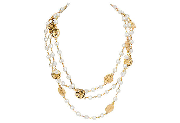 Chanel Long Pearl & CC Coins Necklace