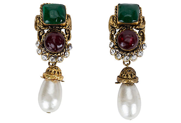 Chanel Gripoix Dangle Earrings 1983