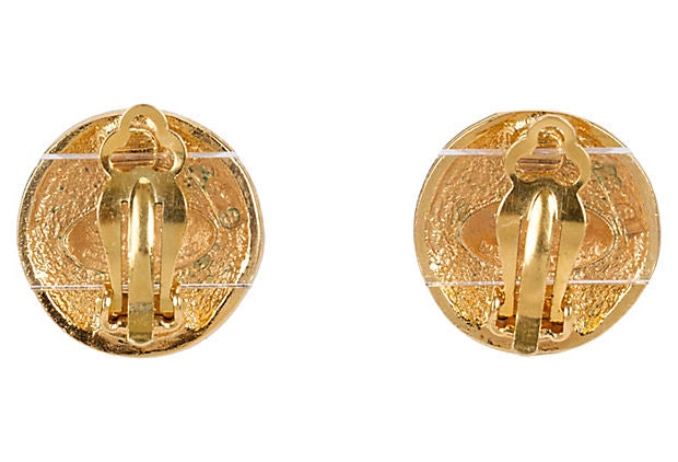 Chanel Mini Gold Lion Clip Earrings