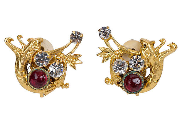 1960s Chanel Wolf Gripoix Clip Earrings