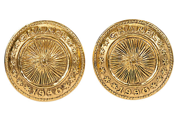 Chanel Gold Shield Clip Earrings