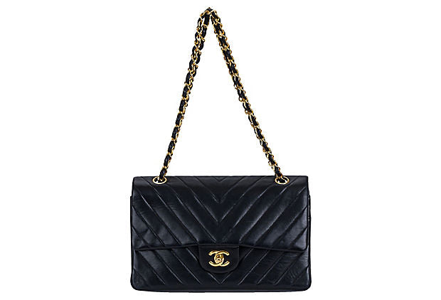 Chanel Black Chevron Double Flap