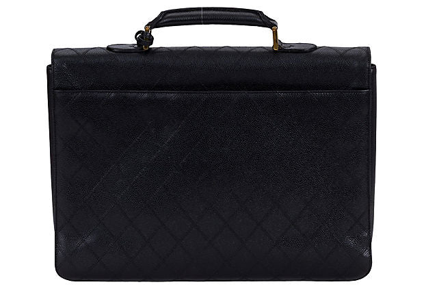 Chanel Black Quilted Caviar Briefcase