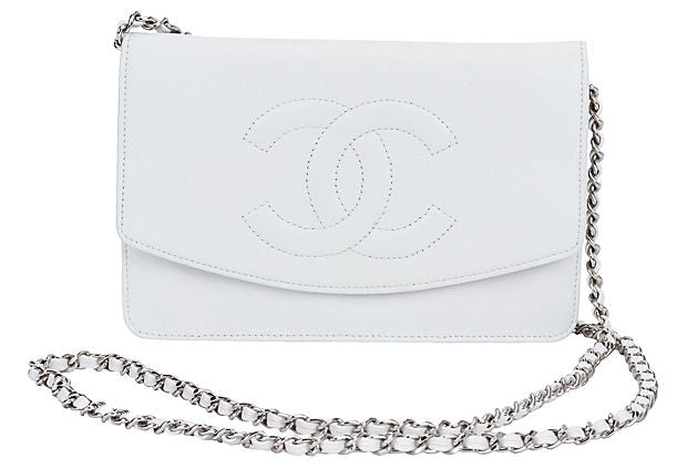 Chanel White Caviar Wallet on Chain