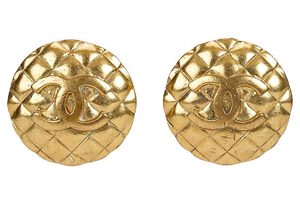 1980s Chanel Quilted Clip Earrings