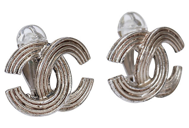 Chanel Ribbed Silver CC Clip Earrings