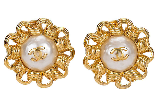 1980s Chanel Faux-Pearl Earrings