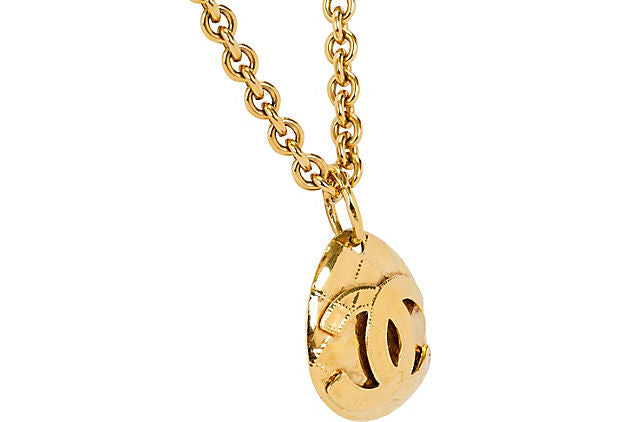 1994 Chanel Drop Quilted CC Necklace