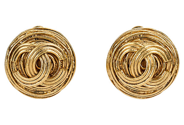Chanel Ribbed Logo Earrings