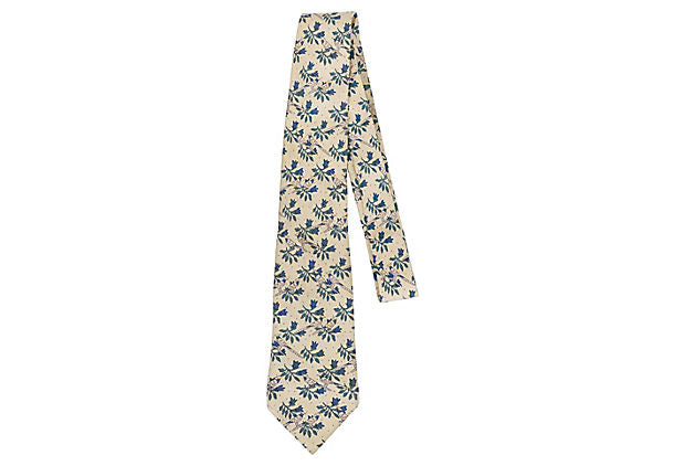 Hermès Pale Yellow Silk Bird Tie