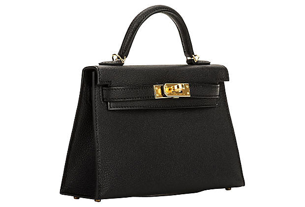 Hermes VIP Black/Gold Mini Kelly II