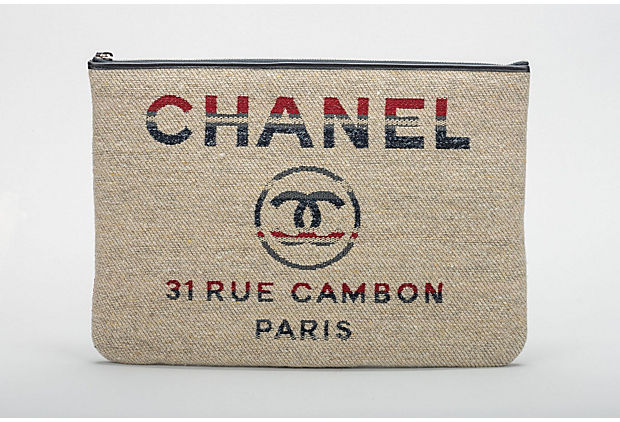 Chanel New Large Red Beige Stripe Clutch