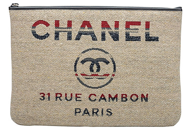 Chanel Red & Beige Striped Clutch