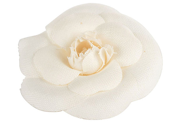 Chanel Cream Linen Camellia Pin