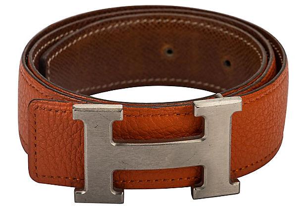 Hermès Reversible Orange/Gold H Belt