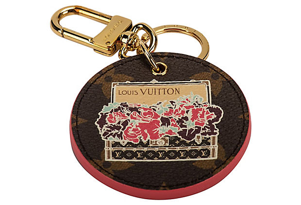 Vuitton Monogram & Pink Flower Keychain