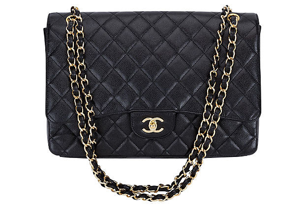Chanel Black Caviar Maxi Single-Flap Bag