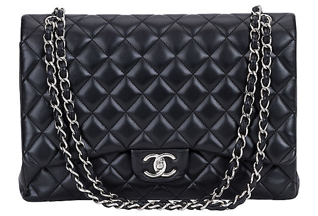 Chanel Black Lambskin Maxi Double Flap