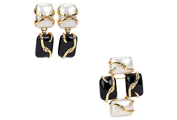 Chanel Black & Pearl Earrings/Pin Set