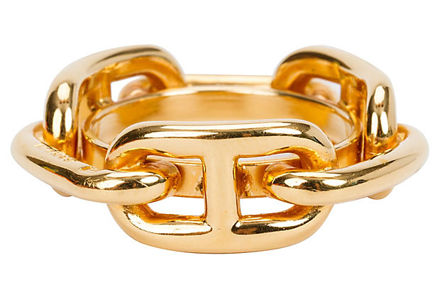Hermès Gold Chain d'Ancre Scarf Ring
