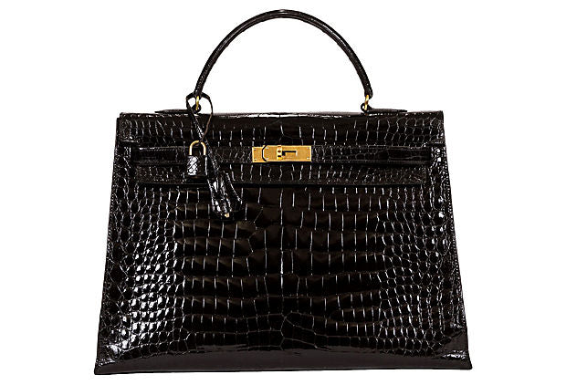 Hermès 35cm Black Crocodile Kelly