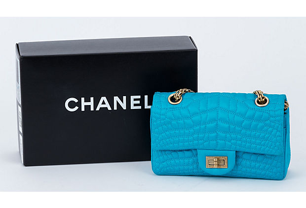 Chanel Silk Croc Embossed Turquoise Flap