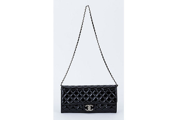 Chanel Black Patent 2 Way Pouchette/Bag