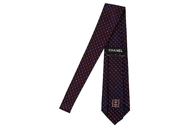 Chanel Purple & Brown Silk Tie