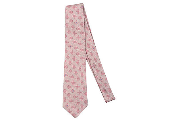 Chanel Pink Floral Tie