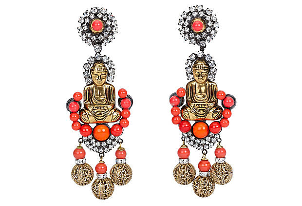 Vrba Coral Buddha Earrings