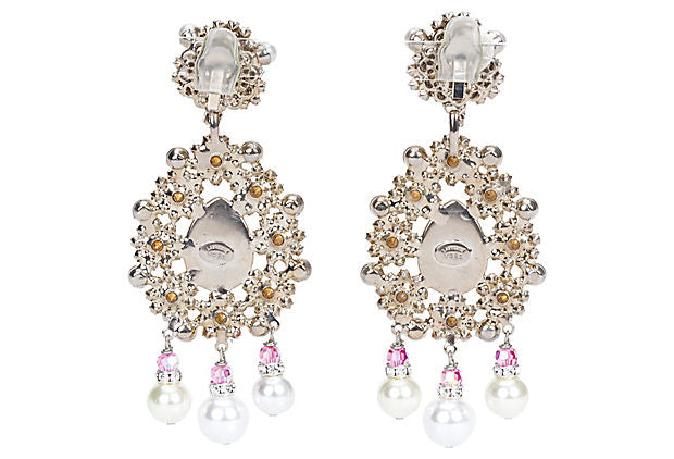Vrba Pink Rhinestone Clip Earrings