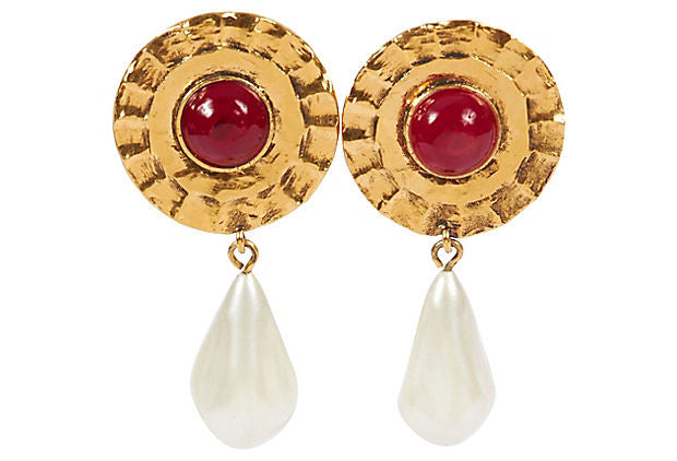 1970s Chanel Tudor Red Gripoix Earrings