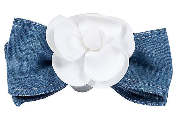 1980s Chanel Camellia Denim Hair Clip