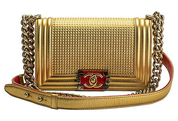 Chanel Gold & Red Boy Bag