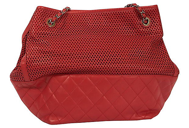 Chanel Coral Perforated Shopper