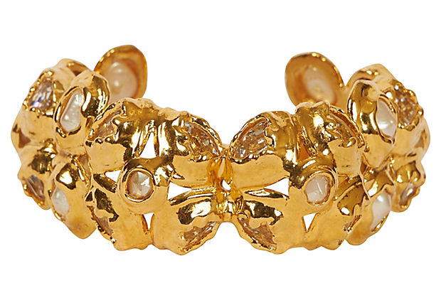 Chanel Textured Gold & Faux-Pearl Cuff