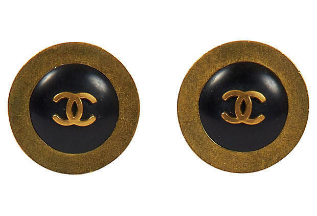Chanel Black & Gold Earrings