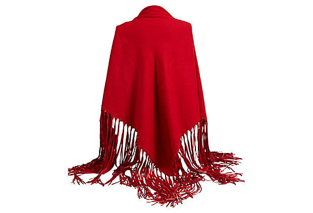 Hermes Red Cashmere/Leather Shawl