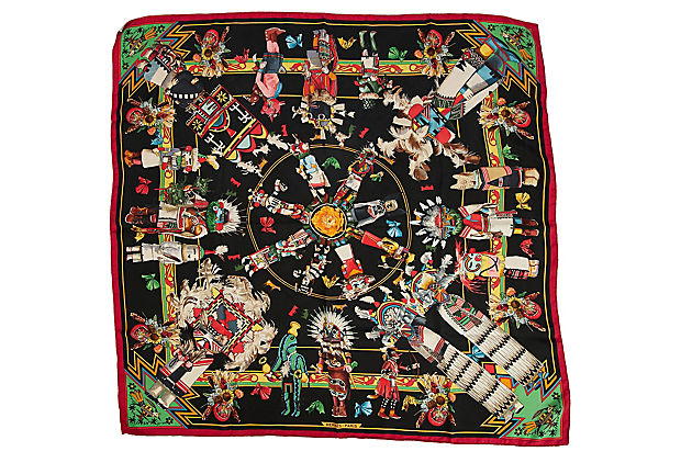 Hermès Black & Red Silk Kachinas Scarf