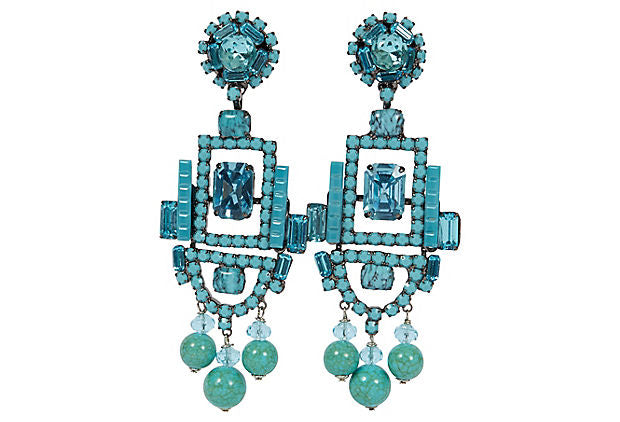 Vrba Art Deco Turquoise Clip Earrings