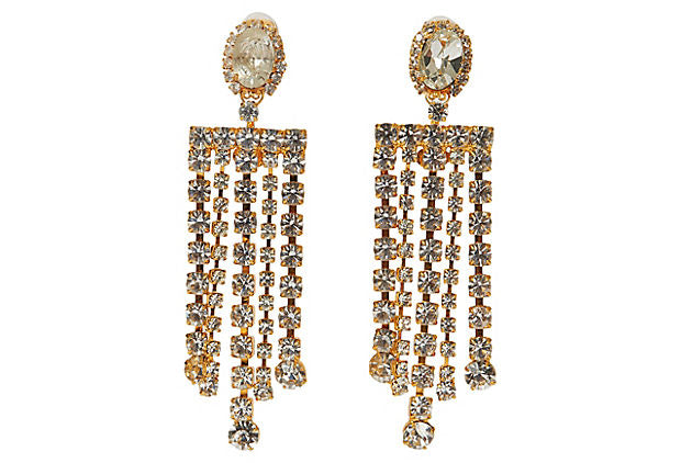 Vrba Crystal Fringe Chandelier Earrings