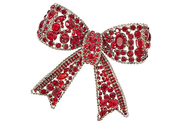 Vrba Red Crystal Oversize Bow Pin