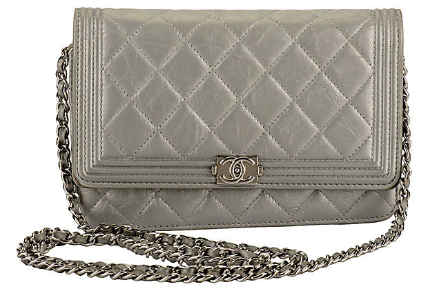 Chanel Silver Boy Bag Wallet on Chain