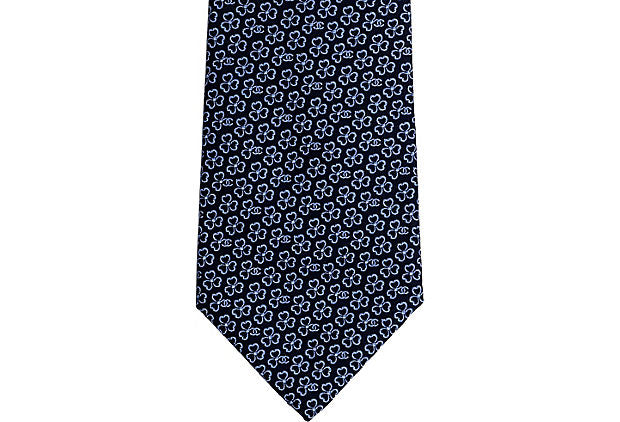 Chanel New Blue Flower Silk Tie