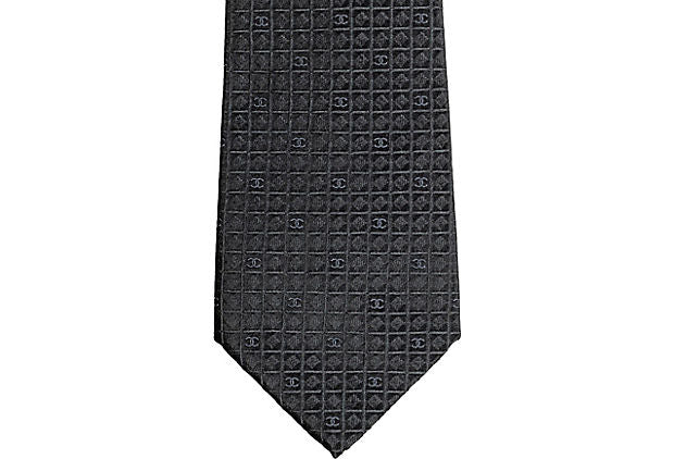 Chanel New Graphite Silk Tie